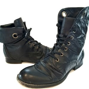 Nine West 'Peroxy' Black Leather Combat ankle boot